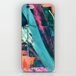 Wild [7]: a bold, colorful abstract mixed-media piece in teal, orange, neon blue, pink and white iPhone Skin