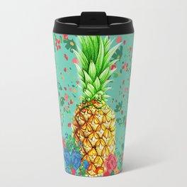 Floral Pineapple Travel Mug
