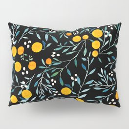 Oranges Black Pillow Sham