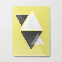 Miminalist Black and White Triangles Abstract Metal Print
