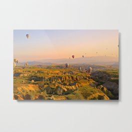 Hot Air Balloons Over Landscape Metal Print