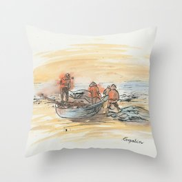 KargacinArt - Fishermen - Watercolor Painting Throw Pillow