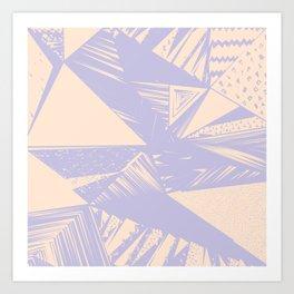 Modern lilac ivory violet geometrical shapes patterns Art Print