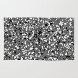 Dark Grey Monochrome Speckles Terrazzo Pattern Stone Effect Rug
