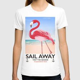 Sail Away Flamingo beach poster. T-shirt