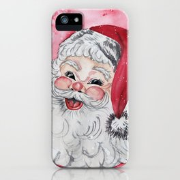 Vintage Santa Face Christmas Watercolor iPhone Case