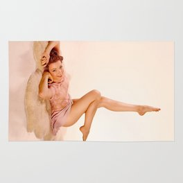 """Kicking Back"" - The Playful Pinup - Sexy Pin-up Girl on Fur Rug by Maxwell H. Johnson Rug"