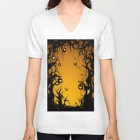scary V-neck T-shirts featuring SCARY HALLOWEEN by Acus