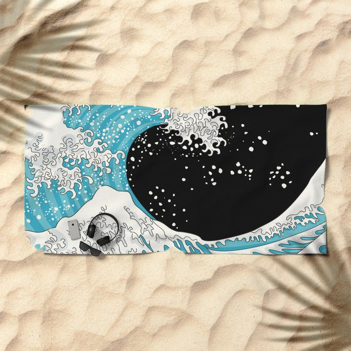 The Great Wave (night version) Beach Towel