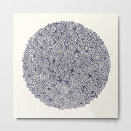 Held Together - a pattern of navy blue doodles Metal Print