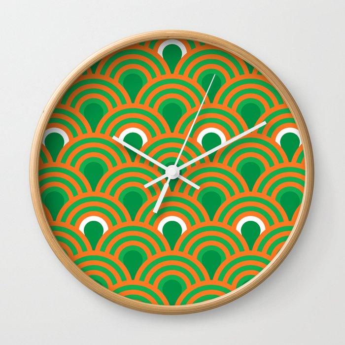 Retro Sixties Inspired Fan Pattern In Green And Orange Wall Clock