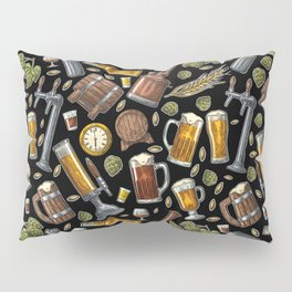 Beer Makes The World Go Round - Black Pattern Pillow Sham