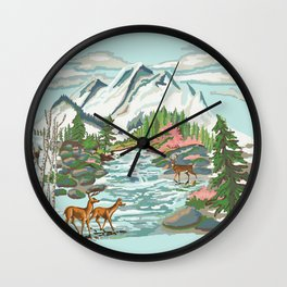 Paint by Number Mountain Medow Wall Clock