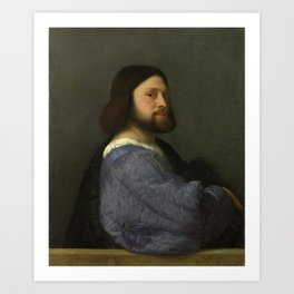 A Man with a Quilted Sleeve, by Titian Art Print