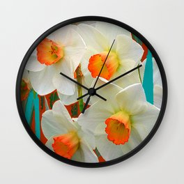 WHITE-GOLD NARCISSUS FLOWERS BLUE-BROWN Wall Clock