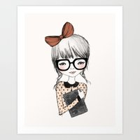 bookworm Art Prints featuring BOOKWORM by Kelli Murray