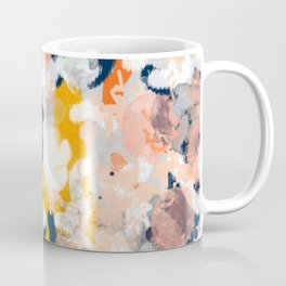 Stella II - Abstract painting in modern fresh colors navy, orange, pink, cream, white, and gold Coffee Mug