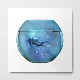 Diver in a fishbowl Metal Print