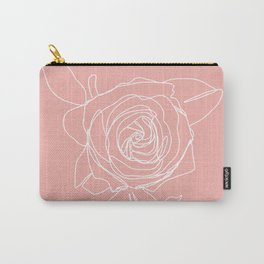Rose Flower With Leaves One Line Art Carry-All Pouch