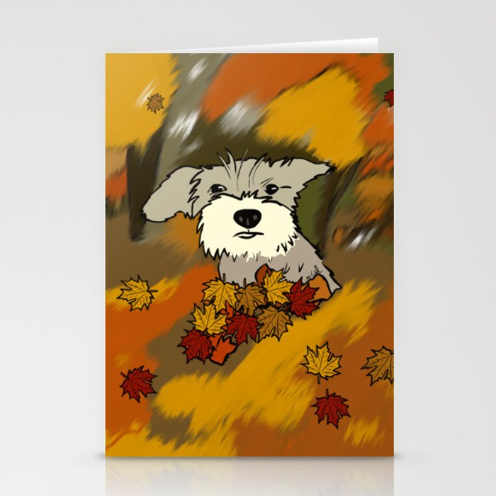 Buck The Schnauzer In Fall Leaves Stationery Cards