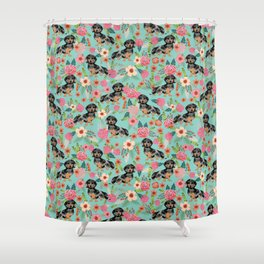 Dachshund dapple coat dog breed floral pattern must have doxie gifts dachsies Shower Curtain