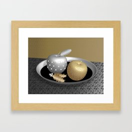 Gold and Silver Christmas Apples on a Silver Platter Framed Art Print