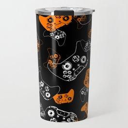 Video Game Orange on Black Travel Mug
