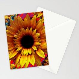 ANTIQUE GOLDEN SUNFLOWER RED MODERN ART Stationery Cards