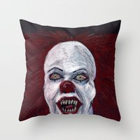 pennywise Throw Pillows featuring Pennywise by Eric Dockery