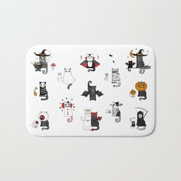 Halloween Cats In Terrible Imagery Bath Mat
