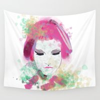 water colour Wall Tapestries featuring water colour lady by rebeccalbe