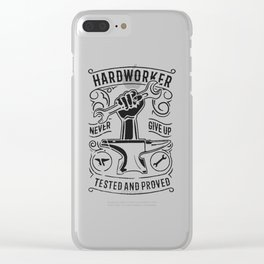 hard worker never give up Clear iPhone Case