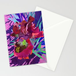 Watercolor Iris Flower with Shadows - Red & Violet Stationery Cards