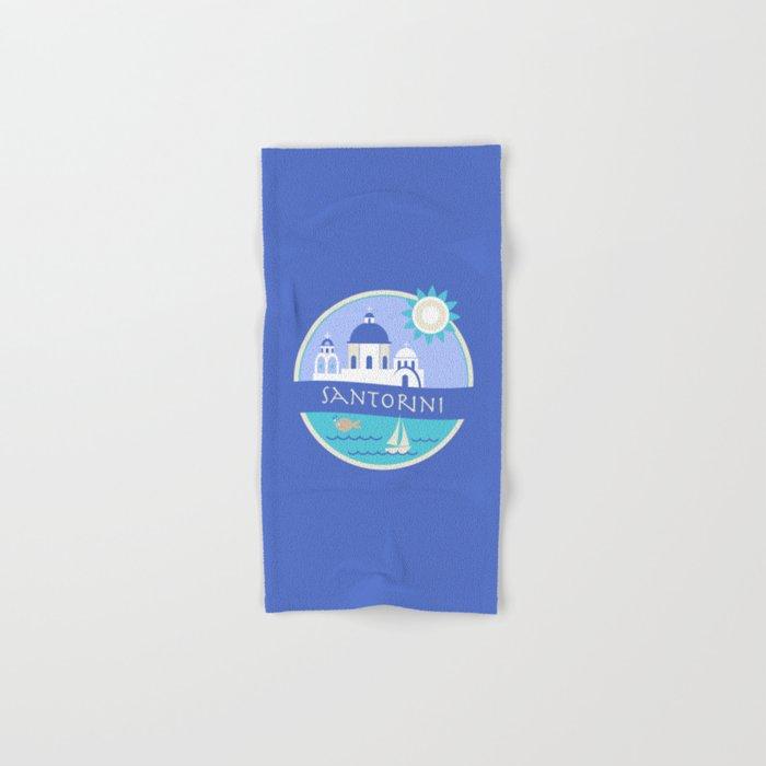 Santorini Greece Badge Hand & Bath Towel