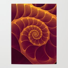 Infinity | Gold Burgundy Sea Shell Poster