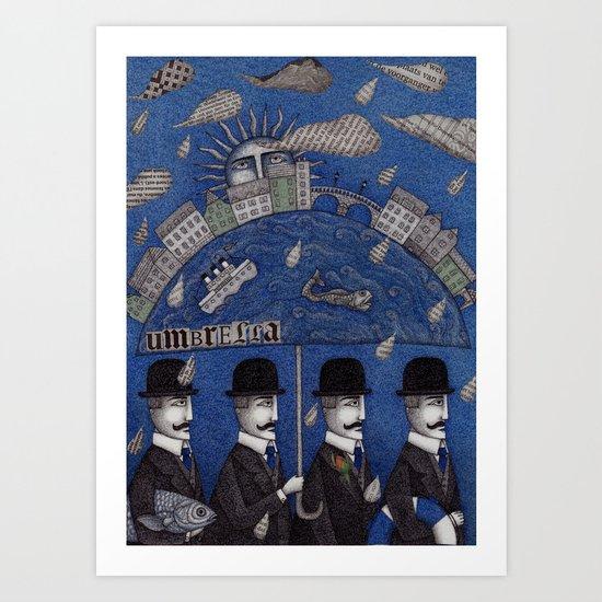 Four Men Waiting Art Print