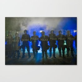 Riot Police Line - White/Blue  Canvas Print