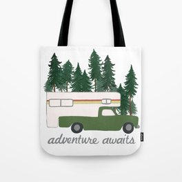 Adventure Awaits Truck Camper RV Camping Green Forest Tote Bag
