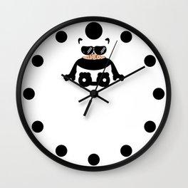Mustache Hella Cool Panda Wall Clock