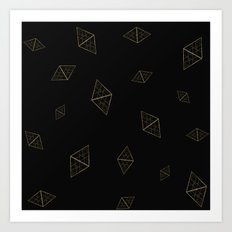 Golden Crystals Art Print