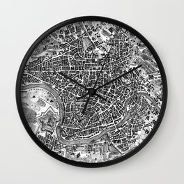 Vintage Map of Rome Italy (1721) BW Wall Clock