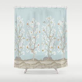 Citrus Grove Mural in Mist Shower Curtain
