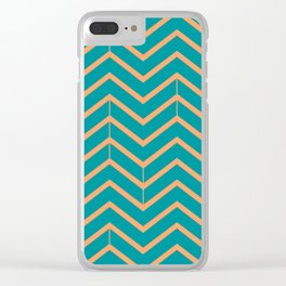 Viridian and Papaya Zigzags Clear iPhone Case