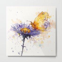 Flowers & Flutters Metal Print