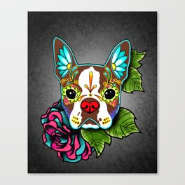 Boston Terrier in Red - Day of the Dead Sugar Skull Dog Canvas Print