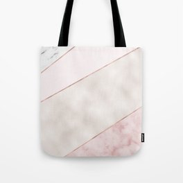 Spliced mixed pink marble and rose gold Tote Bag