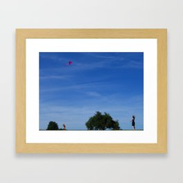 Flying a Big Kite in a Big Blue Sky one Summer Day Framed Art Print
