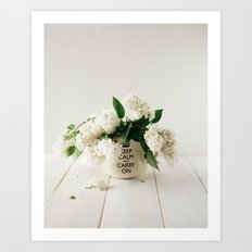 Still life with white lilacs Art Print