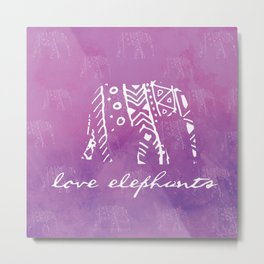 Elephant Love Purple Metal Print