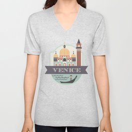 Venice Italy Badge Unisex V-Neck